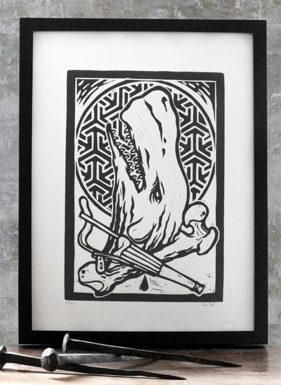 wood carved tattoo insired prints  This print is about the white whale Moby Dick, victorious over Ahab.It is part of 4 set of Prints representing Animal supremacy over humans.Handcarved Limited Edition of 20, numbered and signed by the Artist