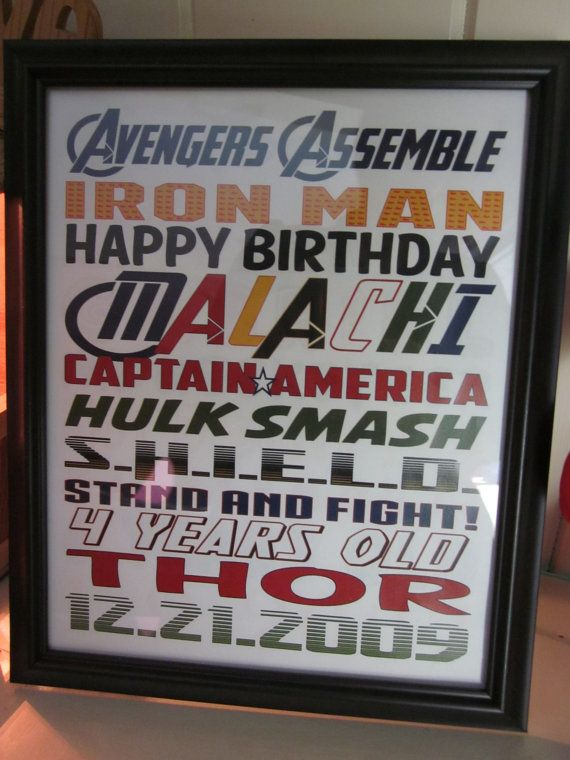 Avengers Birthday Subway Art - Personalized Printable on Etsy, $5.00