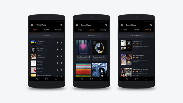 Three design composites showing the Prime Music section on Android Mobile. The designs show the 'Songs', 'Albums' and 'Prime Playlist' sections.