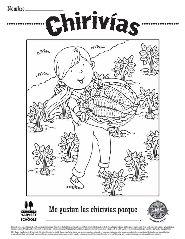 free printable childrens coloring sheet food hero parsnips in spanish coloringpage