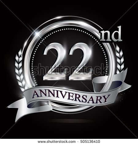 22nd silver anniversary logo with ring and ribbon. silver anniversary laurel wreath design.