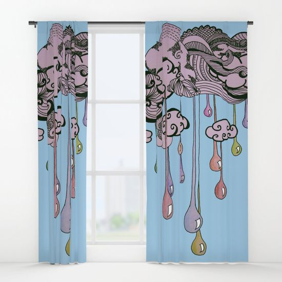 """""""Rainbow Raindrops"""" by I Love the Quirky - Window Curtains. Available in Single and Double."""
