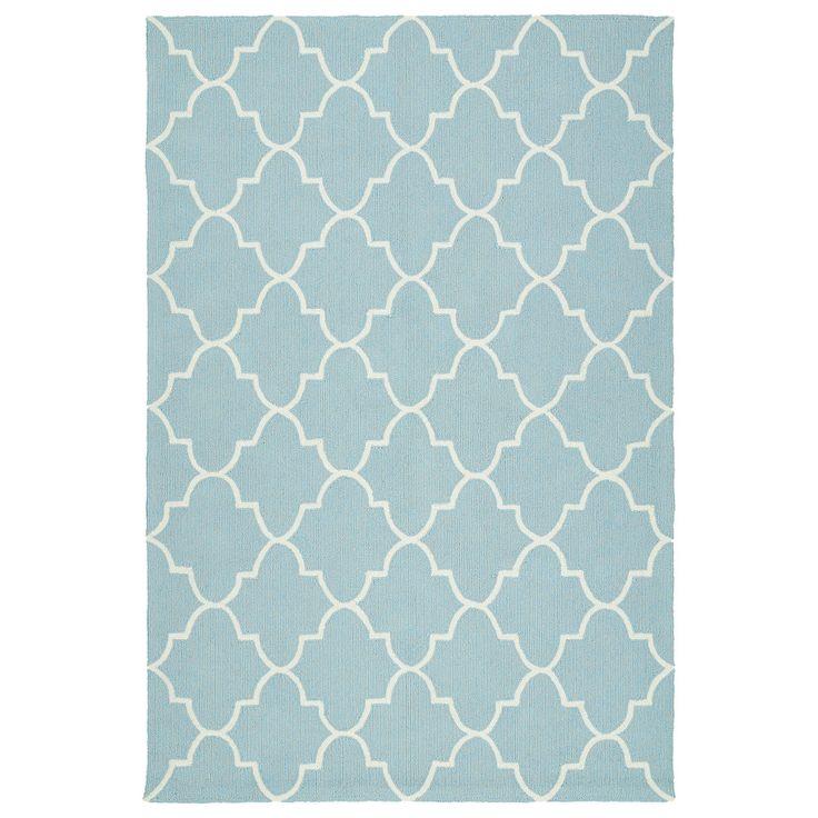 Bombay Home Indoor/ Outdoor Handmade Getaway Light Blue Tiles Rug (9'0 x 12'0) (9'0 x 12'0), Size 9' x 12' (Polypropylene, Geometric)
