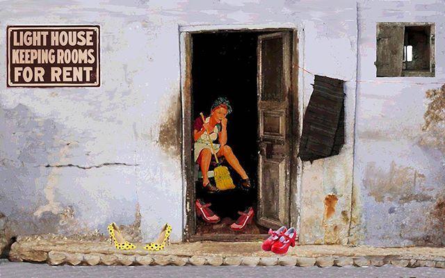 Light House (Broken Windows series) 2014 cm 25×35 #pencilonpaper #inkonpaper #acryliconpapers #workonpaper #paperpaint #paperart #illustration #figurativeart  #brokenwindows #monacoart #detournement