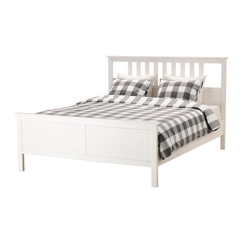 IKEA HEMNES Bed frame White stain/luröy Standard Double Made of solid wood, which is a hardwearing and warm natural material.