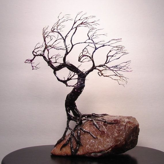 how to make a wire tree sculpture | Wire Tree Of Life Wind SPiRiT sculpture by CrowsFeathers