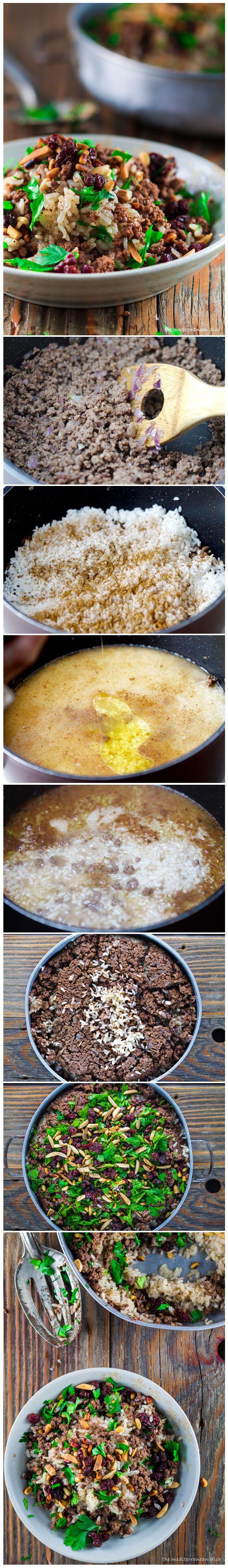 Mediterranean Hashweh Rice with Beef, Nuts, and Raisins