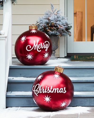 Larger than life Outdoor Merry Christmas Ornaments.