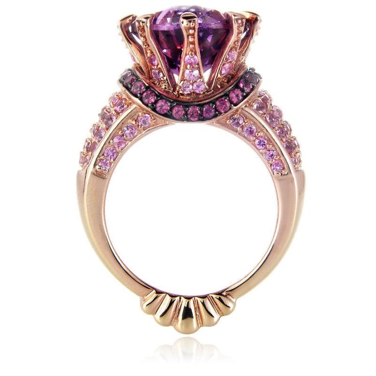 7.13ct Le Vian Amethyst 14k Rose Gold and Black Rhodium Ring