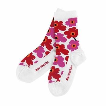 Cute little socks to cover cute little toes. Marimekko Unikko Red / White Childrens Socks