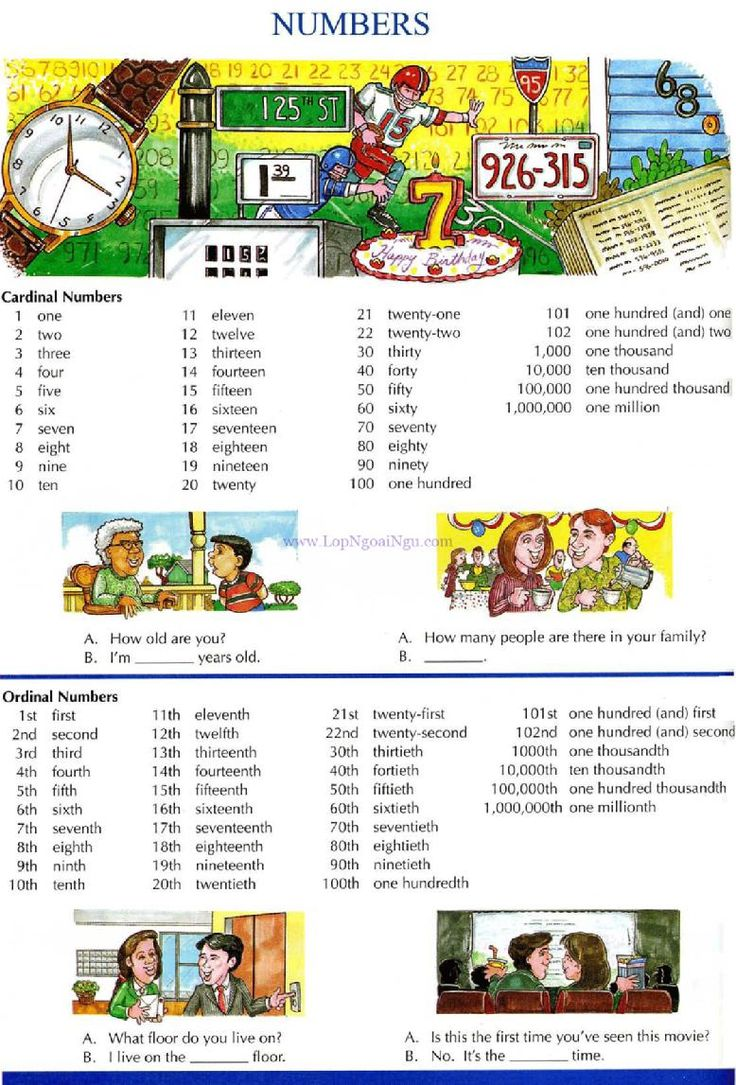 26 - NUMBERS - Picture Dictionary - English Study, explanations, free  exercises, speaking