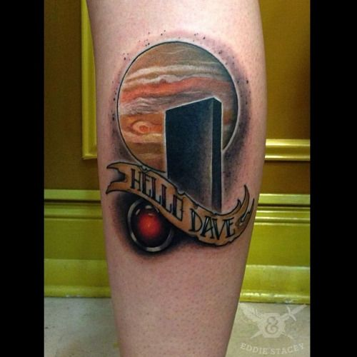 An amazing 2001: A space Odyssey tattoo by @eddiestacey ! Super fun one!