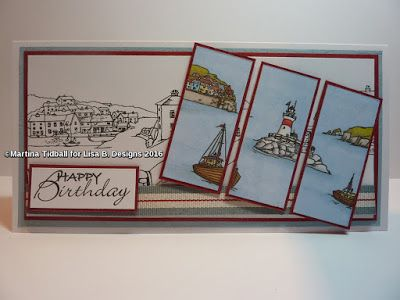 Handmade card by Martina Tidball. Hobby Art Harbour Village stamp set.