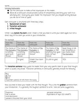 Writing conclusions worksheet