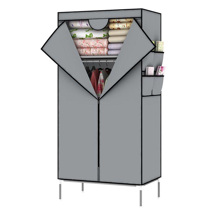 Homdox Portable Closet Storage Organizer Wardrobe Canvas Wardrobe WIth Hanging Rail Storage Home Furniture