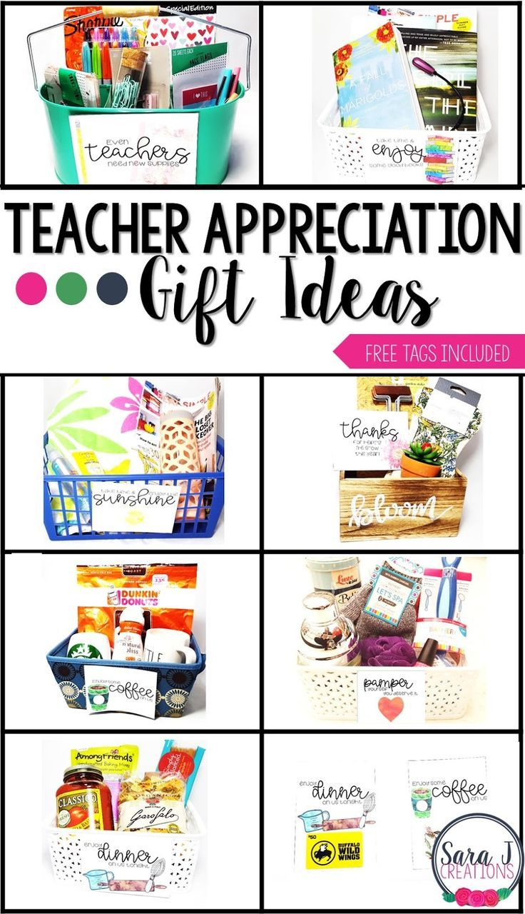Teacher appreciation gift ideas plus free printable cards.  Perfect for teacher appreciation week or the end of the school year.