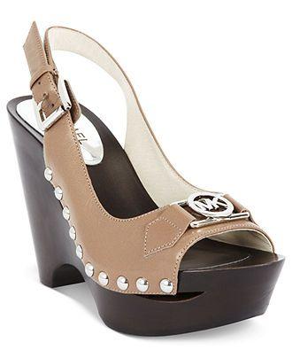 Michael Kors Women\u0027s Leather Sandal Wedge Platform Heel Shoes 2 at  ShopFashionDesigner