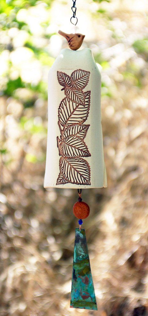 White Ceramic Wind Chime Garden Bell with Leaves Pattern, Copper Bell and Bird Accent, Rustic Garden Decor