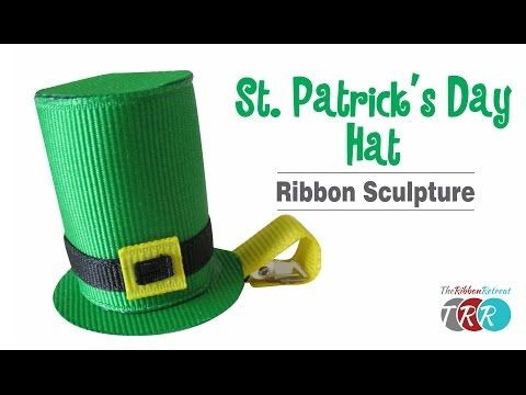 How to Make a miniature St. Patrick's Day Hat Ribbon Sculpture - VIDEO