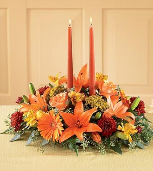 thanksgiving flower arrangement ideas with fake flowers | Thanksgiving Flower Centerpiece with Candles
