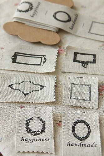 label tape - cut them apart to add to sewing projects or giftwrapBusiness Cards, Sewing Projects, Fabrics Labels, Handmade Labels Ribbons, Linens Fabrics, Gift Tags, Rubber Stamps, Crafts, Vintage Style