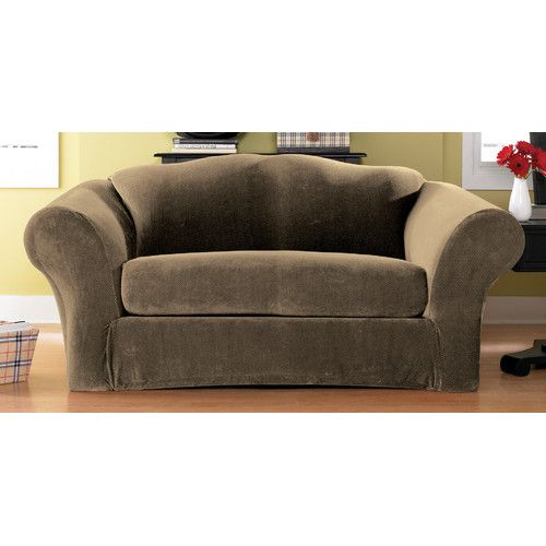 Found it at Wayfair - Stretch Pique Separate Seat Loveseat Slipcover