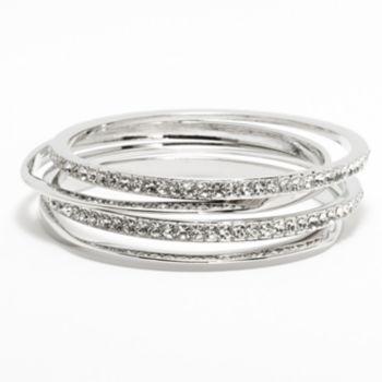 Jennifer Lopez Silver Tone Simulated Crystal Hammered Bangle Bracelet Set