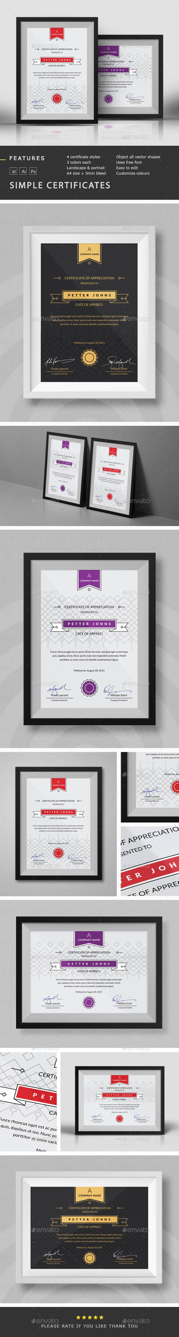 Simple Certificates Template | GraphicRiver