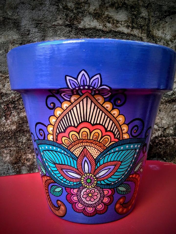 922 best images about hand painted flower pots on. Black Bedroom Furniture Sets. Home Design Ideas