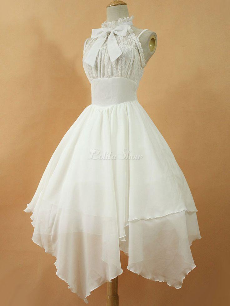 Lolitashow Gothic Lolita Kleid JSK Dawn White Chiffon Spitze Bogen unterbrochen Schnürschuh unregelmäßige Lolita Jumper Rock