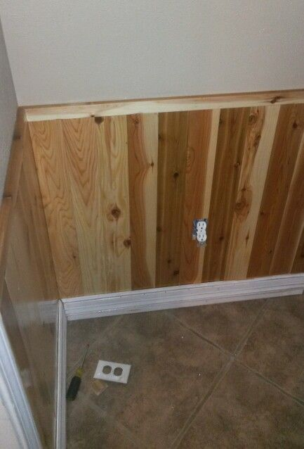 Mudroom Wainscoting Out Of Texas Cedar Planks