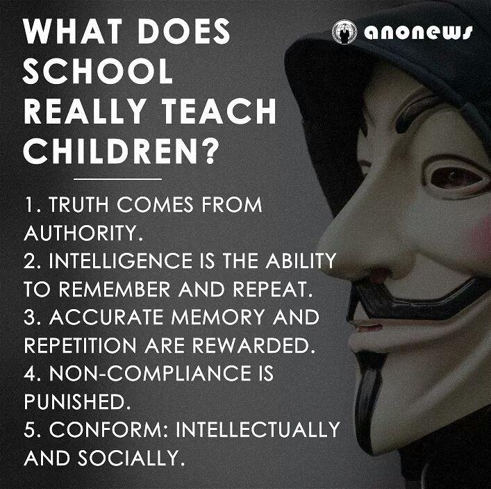 """Vad lär skolan våra barn igentligen?  1. Sanningen kommer från de styrande. 2. Intelligens är förmågan att komma ihåg och upprepa. 3. Exakt minne och upprepning belönas. 4. Bristande efterlevnad straffas. 5. Passa in :  intellektuellt och socialt  """"Dom vill inte ha Tänkande medborgare som ifrågasätter.. utan dom vill ha tysta Arbetande slavar""""  #SkolanIdag #SvPol #Indoctrinering #Manipulering #Slavarbete #ArbetarKlassen"""