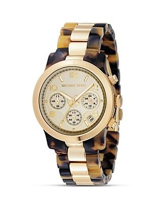 MICHAEL Michael Khors Round Tortoise and Gold Bracelet Watch, 38MM