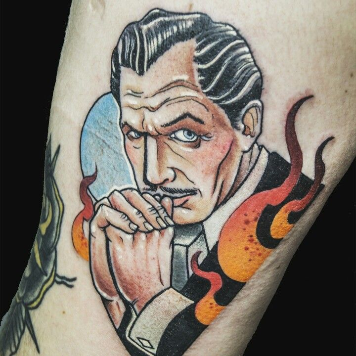 Vincent Price - father of creepy, fear and horror mastermind straight out of the silver screen on to my skin #tattoo #ink #tattoos #inked #tattooed #tattooart #traditionaltattoo #tattoodesign #instatattoo #bodyart #tattooflash #colortattoo #neotraditional #neotrad #neotraditionaltattoo #newtraditional #tattooartist #traditionaltattoos #oldschool #newschool #newschooltattoo #classichorror #horror #art #creepy #tatuaż #tatoo #татуировка #tattoosofinstagram