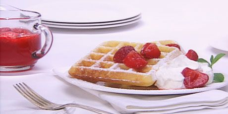 Lemon Cornmeal Waffles with Strawberry Rhubarb Syrup- Anna Olson