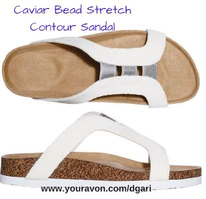 https://www.avon.com/product/caviar-bead-stretch-contour-sandal-58239?rep=dgari&utm_content=buffer00815&utm_medium=social&utm_source=pinterest.com&utm_campaign=buffer NEW! Cool comfort for your summer feet! #sandals #whitesandals #summersandals #fashion #shoes #avon