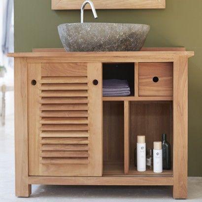 Teak bathroom furniture - Coline Solo vanity cabinet - Tikamoon