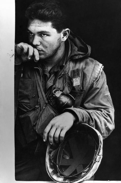 Don McCullin, US Marine during a pause in fighting, Vietnam, 1968.  For me it is the amount of silent emotion in this soldier's face that elevates the image above the norm. Anyone in London who wants to see McCullin's work should pop into the Imperial War Museum to see their special exhibition.