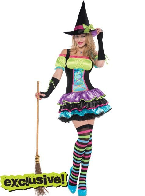 Adult Pop Neon Witch Costume - Party City This is my costume, because Charlotte decided we had to be witches together. & I don't want to be a scary witch.