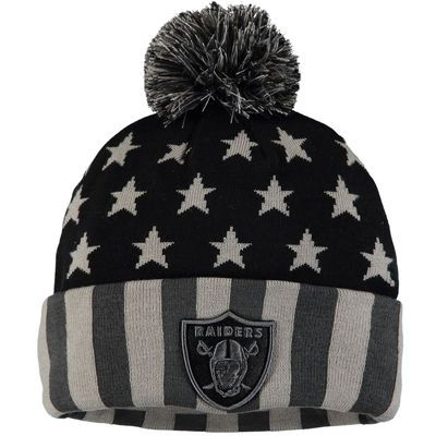Oakland Raiders NFL Pro Line by Fanatics Branded Americana Stars and Stripes Cuffed Knit Hat - Black/Gray