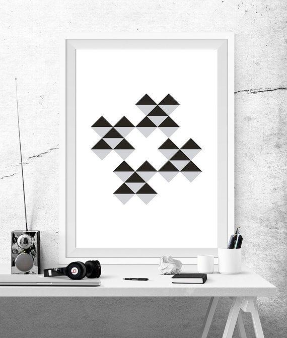 Geometric Abstract Poster Prints Printable Black White Grey Cross X Symbols Plus Triangles Optical Effect Squares Minimalist Decor Art