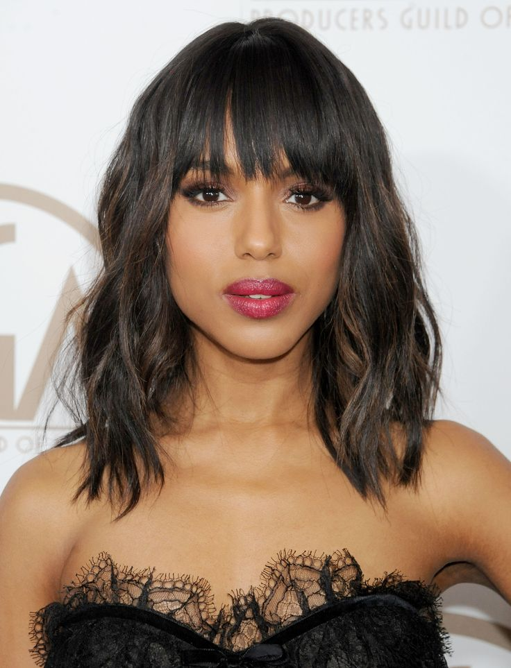 Kerry Washington rocks front bangs with a shaggy, shoulder-length mane. // #hair