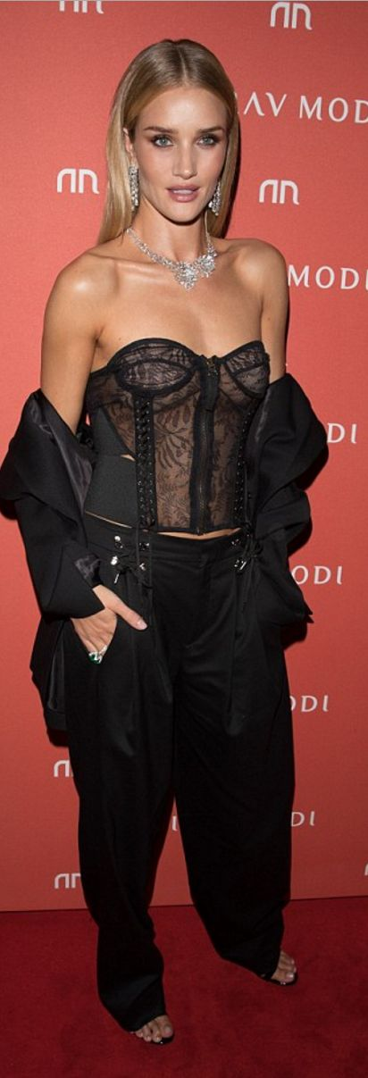 Rosie Huntington-Whiteley wearing Shirt and pants Anthony Vaccarello Jewelry – Nirav Modi