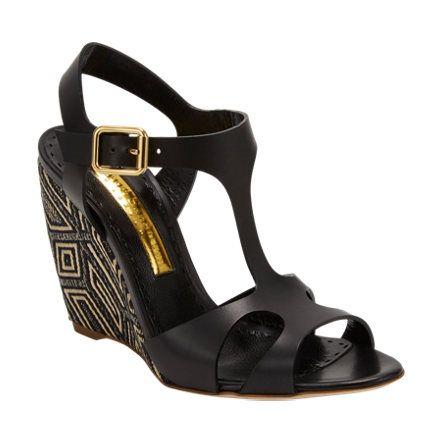 Rupert Sanderson Mitzy T-Strap Wedge Sandals at Barneys.com