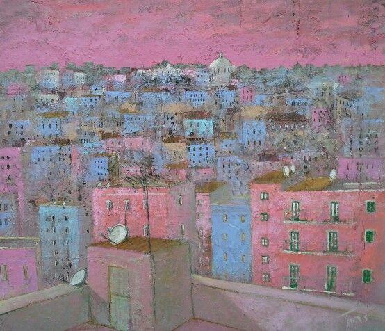 Dalla periferia 70x60 cm mixed on mdf Luigi Torre painter 2015