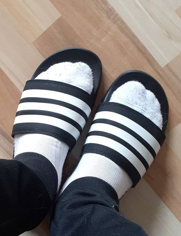 Pin by Roleplayingcatnip on Slide Sandals :) | Socks and sandals, Socks and  slides, Men in socks