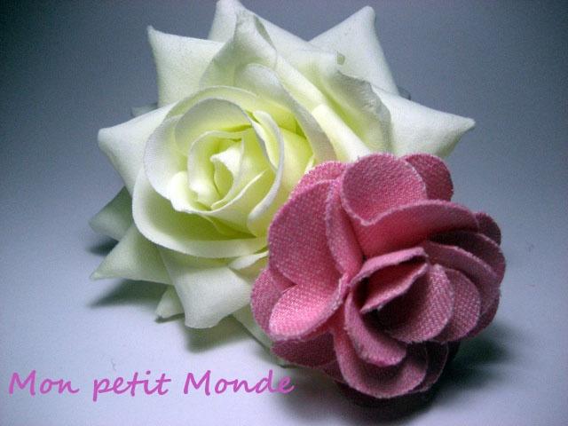 Flor para broches, coleteros o diademas en Lino rosa