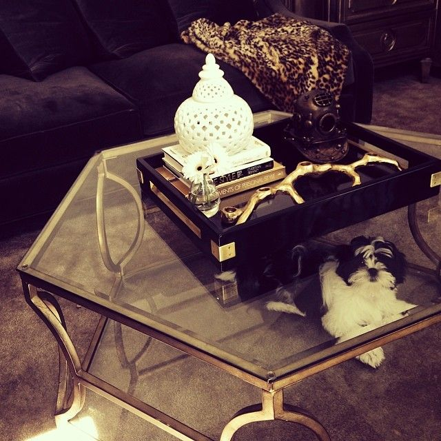Our Brooke Hexagonal Coffee Table also functions as a hiding spot for @thechicrebellion_'s dog.