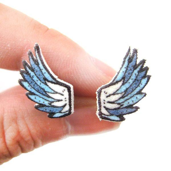 Angel Wings Feather Shaped Stud Earrings | Handmade Shrink Plastic