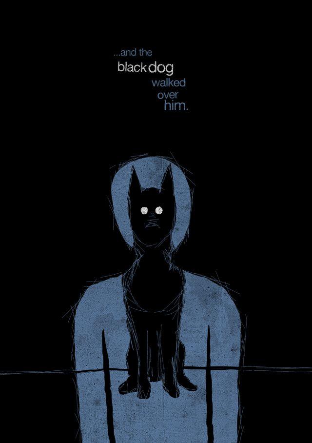 black dog of depression clip art   and the black dog walked over him